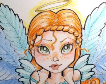Grounded Angel Big Eye Fantasy Art Print 8.5 x 11