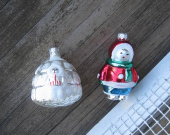 Hand-painted North Pole Ornaments; Figural Blown Glass Igloo and Eskimo; Alaska Lovers' Gift; Housewarming; U.S. Shipping Included