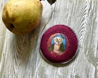 Handmade felt owl brooch with transfer design from original illustration
