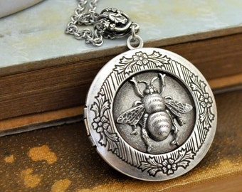 bee necklace, honey necklace, flower, antiqued silver honey bee locket necklace, HONEY, bumble bee necklace,  flower necklace,
