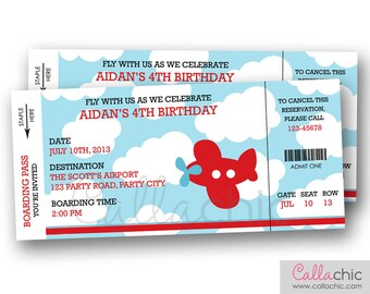 Airplane Boarding Pass Ticket Invitation PRINTABLE - Aeroplane Plane Boy Birthday Party - Blue Red Orange