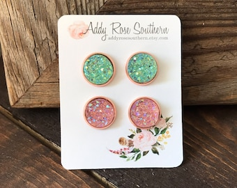 12mm druzy earrings, druzy studs, druzy earrings, mint druzy