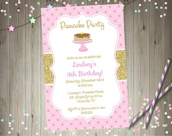 Pancake party birthday invitation pink and gold pancake party pancakes and pajama party printable invitation invite DIY