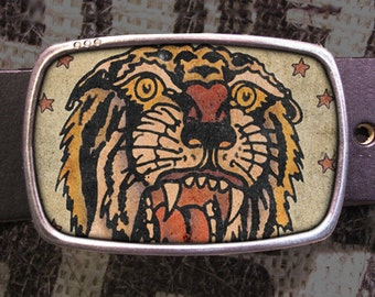 Tiger Tattoo Belt Buckle, Vintage inspired 515, Gift for Him, Gift for Her, Husband  Gift, Wife  Gift Groomsmen Wedding