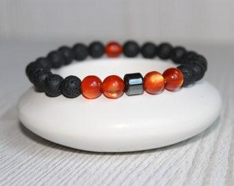 Mens lava bracelet men mala bracelet Lava men Mens protection bracelet Mens lucky bracelet Strength bracelet Men spiritual bracelet Yoga men
