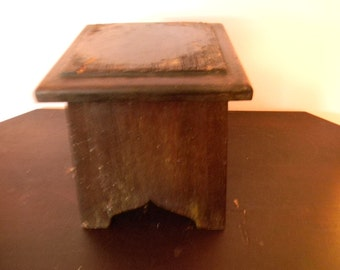 Antique Small Mahogany Wood Stool - Library step stool