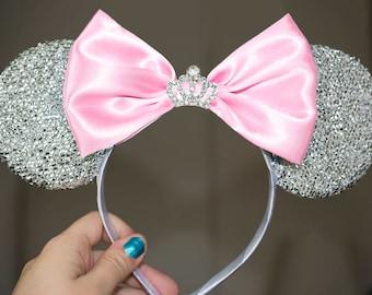 Cinderella Ears Silver Minnie Mouse Ears Headband Crown Tiara Disney Ears pink Mickey Mouse Ears Princess Women Girls Cinderella Headband