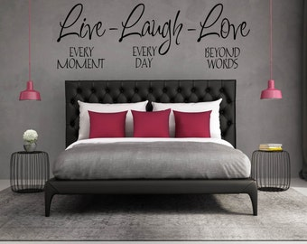 """Home Wall Decal, Wall Decal for Bedroom, Wall Decal Quote, Decals, Vinyl Decal - """"Live-Laugh-Love Family Wall Decal Vinyl Lettering"""