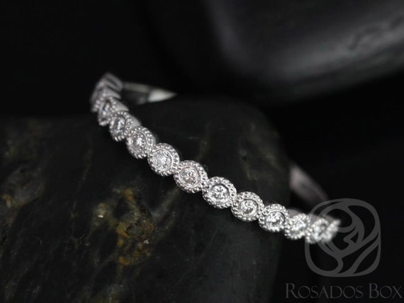 Rosados Box Petite Bubbles 14kt White Gold WITH Milgrain Diamond HALFWAY Eternity Band