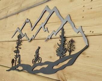 Metal Wall Art, Mountain, Bike, Trees, Mountain Bike, MTB
