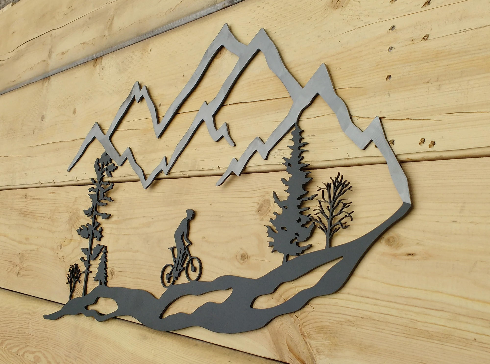 Metal Wall Art Mountain Bike Trees Mountain Bike MTB