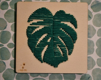 Custom wooden square//idea for home//square with embroidered monstera leaf//handmade
