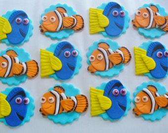 12 NEMO DORY Edible Fondant Cupcake Toppers