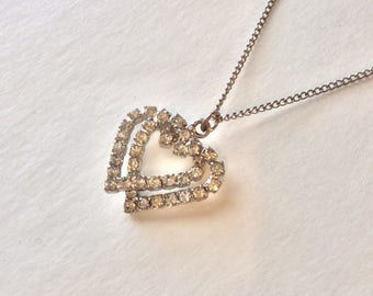 "Vintage Rhinestone Double Heart Pendant With 18"" Silvertone Chain Necklace Gift Idea"