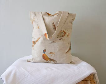 Pheasant Design Cotton Book / Market / Shopping / Tote Bag