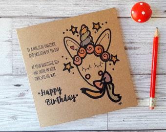 Unicorn birthday card, personalised rainbow magical unicorn greetings card, girl's happy birthday unicorn card, unicorn party, card for her