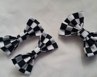 Race Theme Checkered Hair Bow Pig Tail Hair Bows