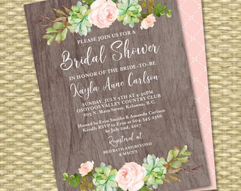Watercolor Boho Bridal Shower Invitation Floral Succulent Bridal Shower Rustic Bridal Shower Invite Printable or Printed ANY EVENT