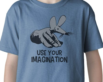 Use Your Imagination kids t-shirt (FINGERMOUSE FINGERBOBS 70's 80's Kids TV)