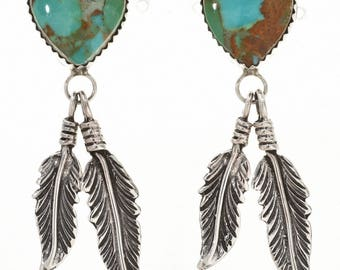 Emerald Valley Turquoise Silver Heart Earrings Navajo Stud Dangles Native American Jewelry