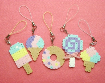 SWEET TREAT CHARMS // Pastel Fairy Kei Kawaii Lolita Dessert Cell Phone Accessories // Donut, Popsicle, Ice Cream Cone, Sno Cone, or Lolipop