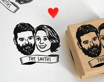 Custom portrait Wedding favors for guest Save the date address stamp invitation / Personalized gift valentine couple engagement bridesmaid