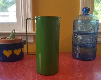 Rare Vintage Green Dansk  Enamelware Kobenstyle Pitcher