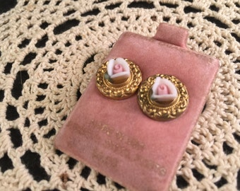Vintage Bisque White and Pink Roses Pierced Earrings