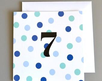 7th Birthday Card -7 - Seventh Birthday Card in Blue Polka Dot - age 7 card - boys birthday card