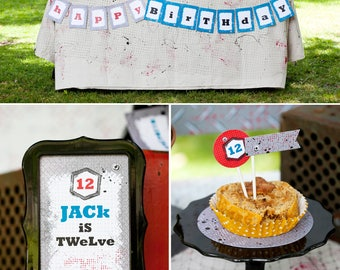 Backyard Battle | Dart Wars Birthday PRINTABLE Party Collection - You Customize EDITABLE TEXT >> Instant Download | Paper and Cake