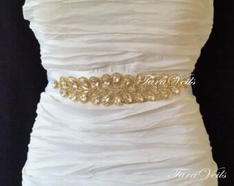 Swarovski Rhinestone Sash,Gold Tone Wedding Sash, Wedding Belt, Belt,Sash, Bridal Sash, Beaded Sash, Rhinestone Wedding Sash, Wedding Sash