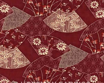 Kasuri F3004 5 Red Hoffman California Asian Inspired Fans Floral Fabric Quilting and Sewing Prints