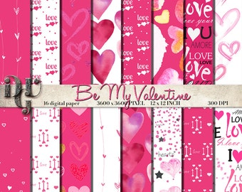 Valentine Digital Paper heart digital paper valentine day Paper Pack valentine pattern scrapbooking papers love patterns baby shower Newborn