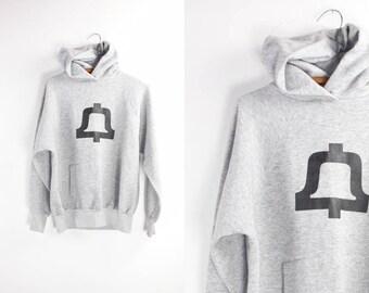 Vintage Hoodie / Heather Grey 80's Sweatshirt / Printed Raglan Athleisure S/M