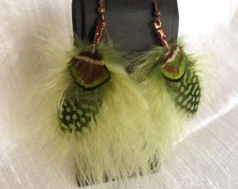 Earrings green feathers and Peacock