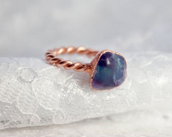 Fluorite | Electroformed Copper Ring US 6 1/4