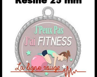 Round Cabochon pendant 25 mm epoxy resin - I can not I have Fitness! (2084) - text, fun, sorry, humor