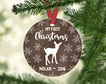 Babys First Christmas Ornament Baby Boy Baby Christmas Ornament for Baby Boy Personalized Baby Gift Baby Ornament Snow Rustic Deer Wood Year