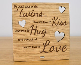 Wooden Twins Plaque Sign for Parents Grandparents of Twins Two To Kiss Hug Love