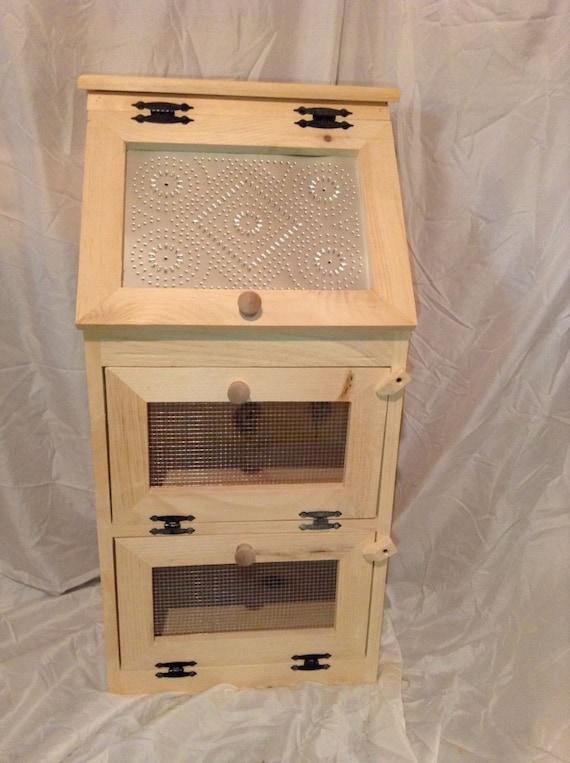 Handcrafted Solid Pine Bread Box With 2 Door Vegetable Bin
