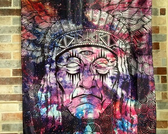 Tribal Chief Sacred Geometry Tapestry Visionary Healing Art, Psy, Shamanic, Sacred Geometry, Entheogenic Art, Festival Decor