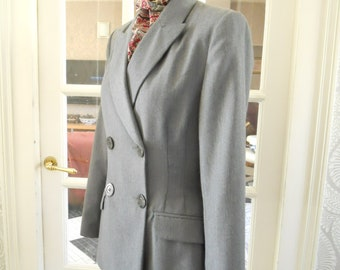 1940s Vibe Double Breasted Jacket in Pure Wool by Alain Manoukian Paris. Fitte Tailored Jacket  Size Small  10 UK 14 USA 38 EU