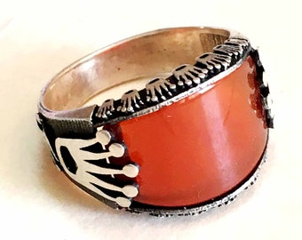 AAA handmade 925 sterling silver mens rings natural red agate carnelian stone aqeeq