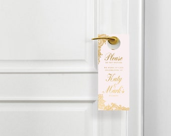 Custom Wedding Hotel Door Hangers - Printable Do Not Disturb Sign - Wedding Decor -  Digital Download