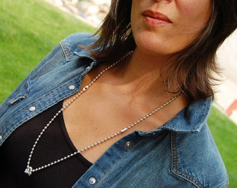 Francesca's Knot, Womens,  Sterling Chain Necklace, Swarovski Crystals or Semi-Precious Stones, Men's Sterling Necklace