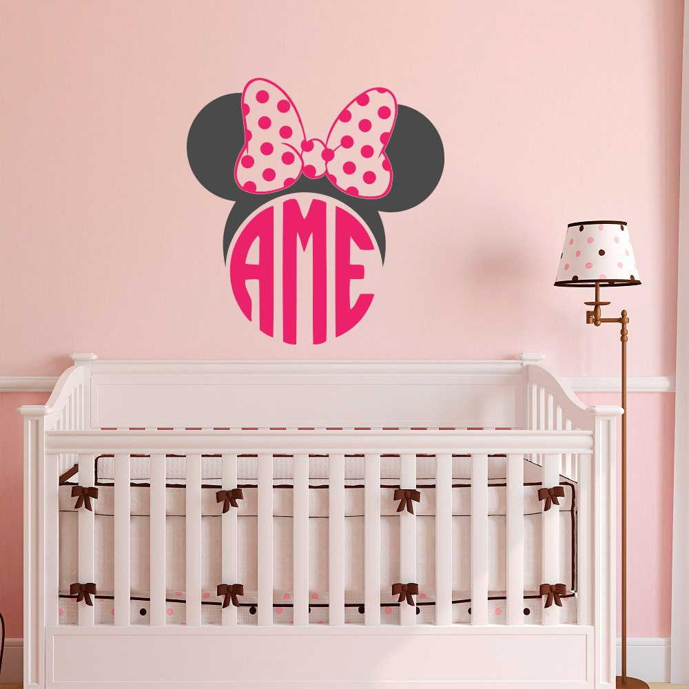 Monogram Letters For Wall Minnie Mouse Monogram Wall Decal Girls Monogram Wall Decal