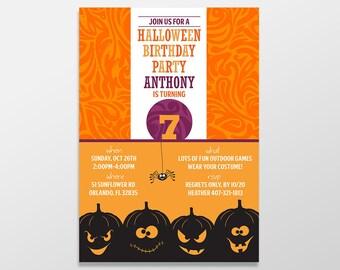 Halloween Birthday Party Invitations, Boy / Girl Birthday, Birthday Invites, Birthday Invitations - PRINTED / PRINTABLE - Halloween Birthday