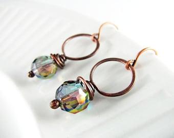 Wire Wrap Earrings Copper and Crystal Earrings Wire Wrapped Jewelry Copper Jewelry Hoop Earrings