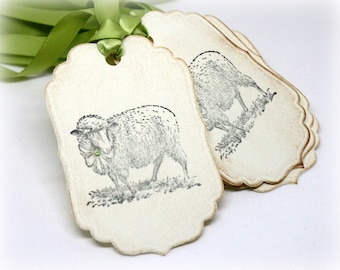 Easter Gift Tags (Double Layered) - Handmade Lamb Hang Tags - Sheep - Vintage Style - Baby Shower - Farm Animal Labels (Set of 8)