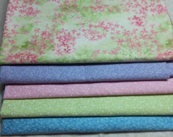 Quiltsy Destash Party SALE, 5 Yards Summer Spring Cotton Fabric Quilt Kit,  Coordinating Cotton Fabric Quilt Kit